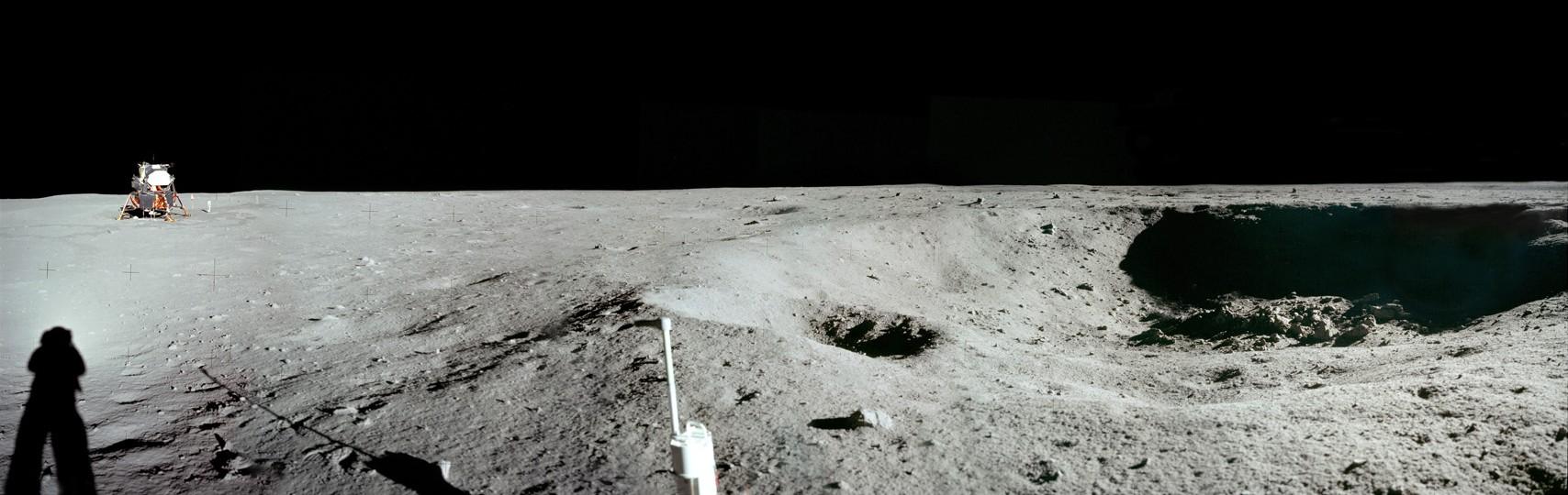 Man's diagrams on the moon landing